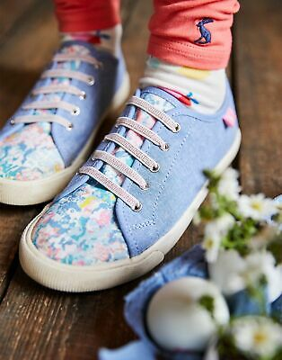 Joules Girls Coast Pump   Canvas Lace Up Trainers in  Size Childrens Size 13