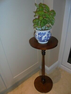 Vintage beech veneer plant stand, turned central column, display, torchere
