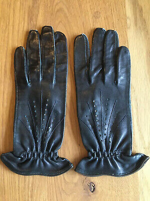 Beautiful Pair Of Vintage Leather 1940's 1950's Gloves 7.5 Black Goodwood