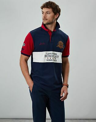 Joules Womens Official Burghley Horse Trials Polo Shirt in FRENCH NAVY Size L