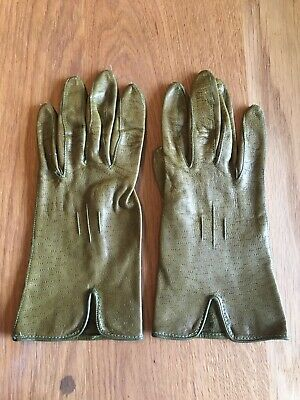 Vintage Pair Of English Leather Gloves 1950's  Green 6.5