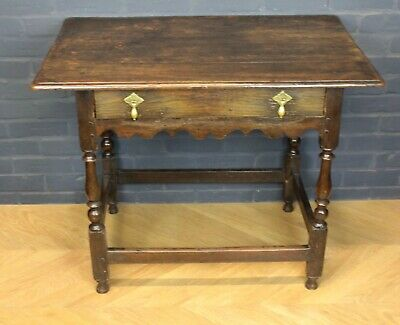 Antique William III Joined Oak Side Table Hall Table Occasional Table c1690