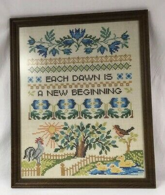 Vintage Cross Stitch Needlework EACH DAWN IS A NEW BEGINNING Finished Picture