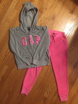 Gap Kids girls pink/grey fleece jogger jacket pants set size xxl 14-16