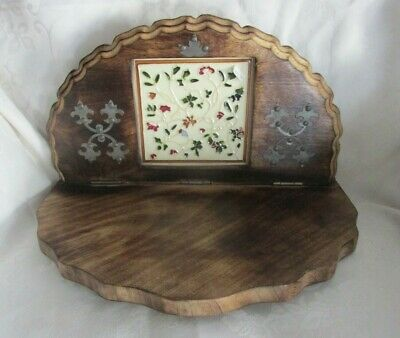 Hand Crafted Wood Wall Shelf w/Decorative Hand Painted Tile & Metal Accents