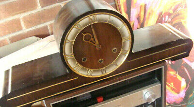 Vintage German (Hermle?) Wooden Mantle Clock (1950'S Style) Clockwork Movement