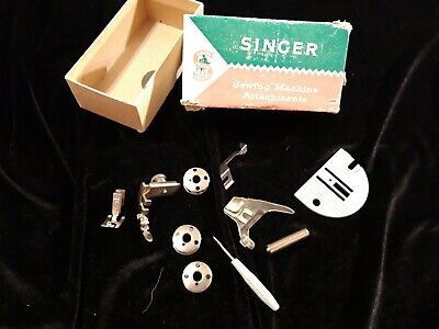 Singer  Box Vintage Lot Sewing Machine Parts zipper foot etc..