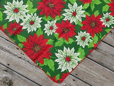 Vintage Bright RED/White/GREEN POINSETTIA Christmas TABLECLOTH 52x70 UNUSED