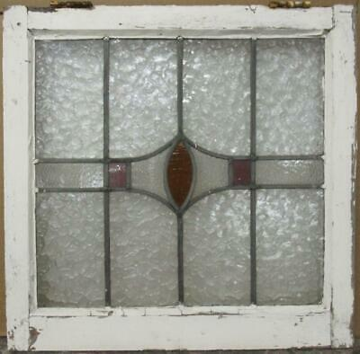 "OLD ENGLISH LEADED STAINED GLASS WINDOW Gorgeous Geometric 22.25"" x 21.75"""