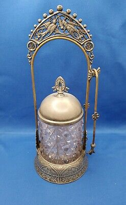 Hartford Silver Plate Co.1880's Pickle Castor with Clear Cut Glass Insert Mint!