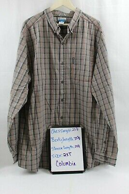 Columbia Mens Gray Black Red & Orange Plaid Button Down Front Shirt 2XT