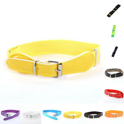 Child Unisex Faux Leather Waistband Metal Buckle Solid Elastic Adjustable Belt