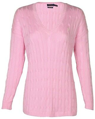 Polo Ralph Lauren Cable Knit V Neck Jumper. Tay Rose / Baby Pink, Medium, New