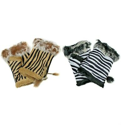 Womens Fingerless Gloves with Faux Fur Trim, Animal Print, Texting Gloves