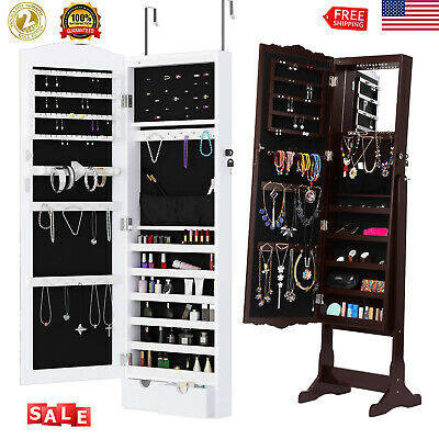 Mirror Jewelry Cabinet Wall Door Mounted Armoire Mirror Organizer Storage Home