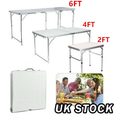 2/4/6FT Camping Catering Heavy Duty Folding Table Trestle Garden Picnic Party UK
