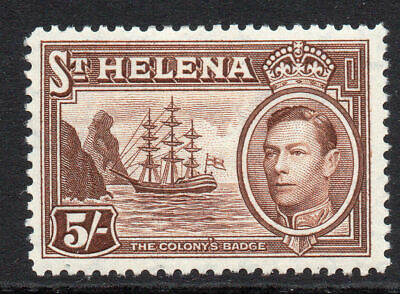 St Helena 5/- Stamp c1938-44 Mounted Mint