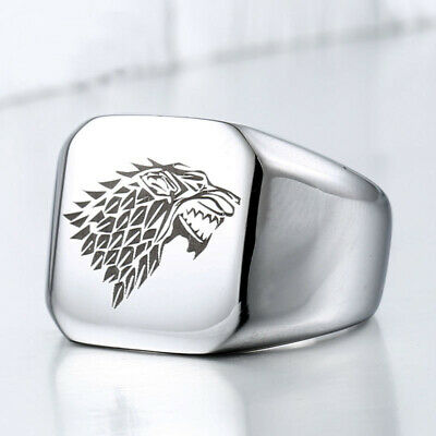 Game of Thrones Stainless Steel Stark Direwolf Ring Wolf Head Ring Fan gift