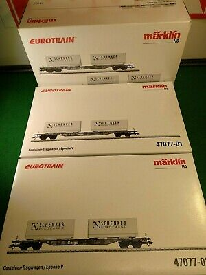 Marklin Container Cars Schenker Eurotrain 47077 OVP DUAL PACK Excellent