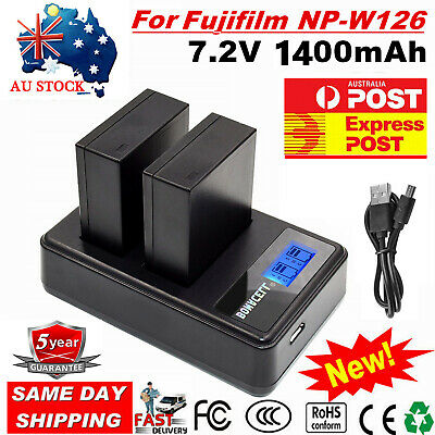 AU 2X NP-W126s Battery /LCD Charger For Fujifilm NP-W126 X-M1 X-A1 X-T1 HS33EXR