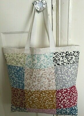 KNITTING BAG HABERDASHERY PATCHWORK SEWING SHOPPING Mothersday GIFT Scrol fabric