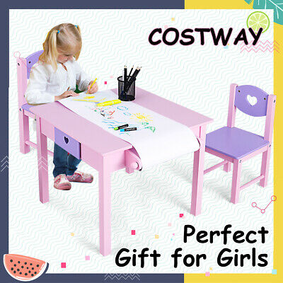 Kids Table and Chairs Set Children Draw Study Play Activity Desk Toy StorageGift