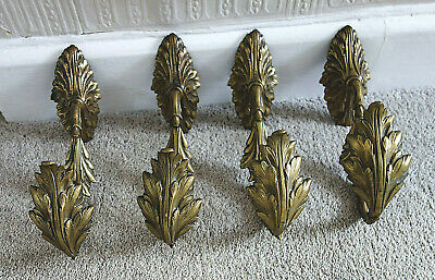 4 LARGE ANTIQUE FRENCH ORNATE GILT ORMOLU CURTAIN TIE BACKS LATE 19th C
