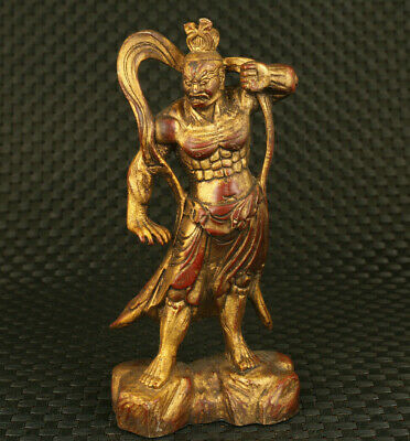 Asian old red copper hand carved prince of Dharma statue collectable noble gift