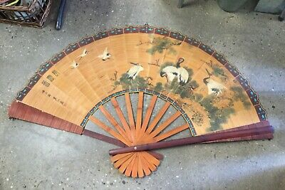Antique BAMBOO Hand Painted JAPANESE Large Wall FAN Featuring Japanese cranes