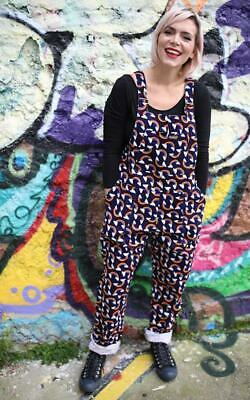 Run And Fly Over The Rainbow Oversized Cord Unisex Retro Dungarees Overalls