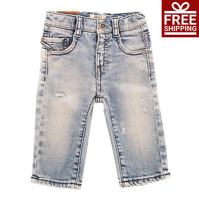 ARMANI BABY Jeans Size 6M Stretch Distressed Faded Adjustable Waist