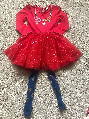 Girls TU Red Chrsitmas Dress & Reindeer Tights Outfit 3-4 Years