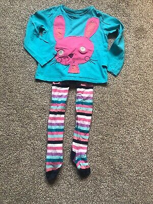 Girls NEXT Blue And Pink Bunny Top And Tights Set 3-4 Years