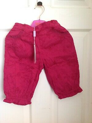 MONSOON LITTLE GIRLS COTTON EMBROIDERED FLORAL PINK TROUSERS SIZE 2-3 Years BNWT