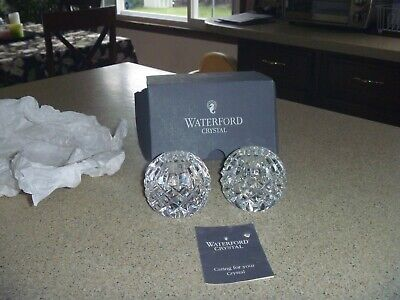 """2 Waterford Crystal Round Faceted Ball Candlestick Candle Taper Holders 2.5"""""""