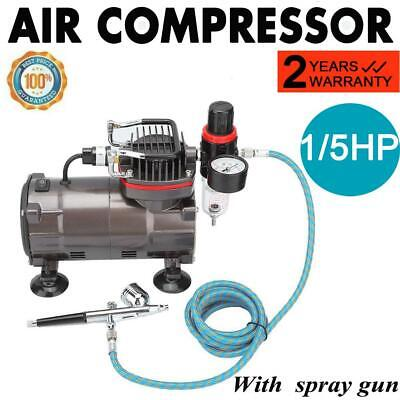 1/5 hp Compressor Airbrush Spray Gun Kit Air Brush Gun Oil-free- 1/5HP Power