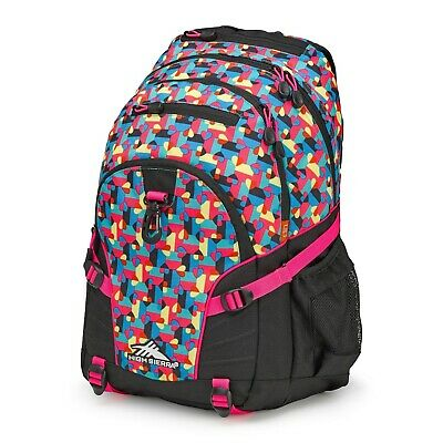 High Sierra Loop Backpack - Black and Pink with hearts ***NEW***