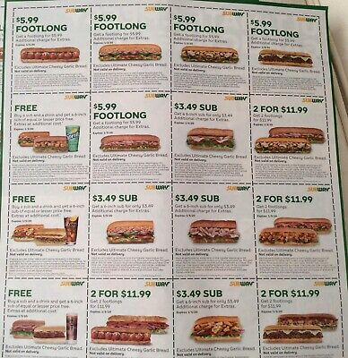 6 Pages Subway Coupons~Total 112 Coupons~Exp. 1/5/2020