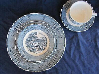 Currier & Ives Royal China 5 piece place setting-dinner,salad, bread plate, c& s