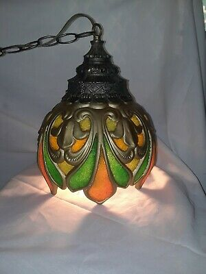 VTG Mid Century Modern Ceramic Swag Lamp Hanging Pendant New Electrical Rare