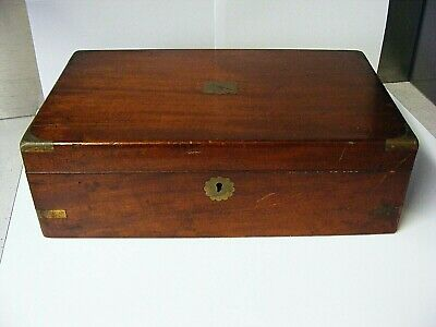 Antique Mahogany & Flush Brass Campaign Mounts Writing Slope.
