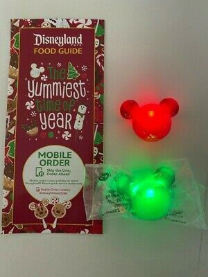 PAIR Disney 2019 Christmas Holiday Jingle Bell Glow Cube Green + Red + GUIDE