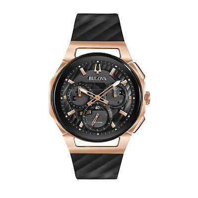Bulova Quartz Men's Curv Chronograph Black Rose Gold Tone Case 44mm Watch 98A185