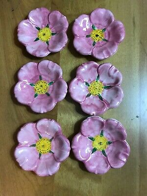 Franciscan Desert Rose Butter Pats,Tea Bag Holders, Nut & Mints~ SET OF SIX