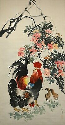 Vintage Chinese Watercolor ROOSTER Wall Hanging Scroll Painting - Zhang Daqian