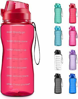 Motivational Water Bottle 2.2L/64oz Half Gallon Jug with Straw and Time Marker