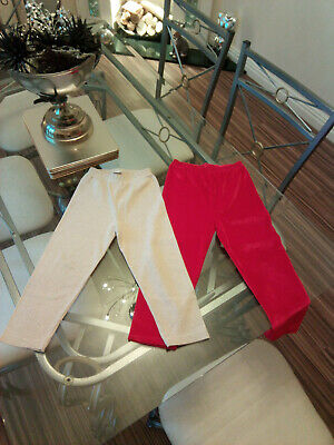 Girls Leggins / Trousers Two Pairs Of Age 3-4 Yrs