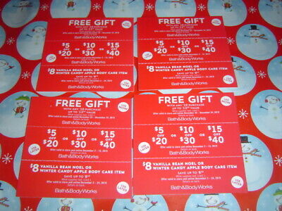 4 Sets Bath  & Body Works Coupons - $5, 10 ,15 Off -13.50 Gift , -Candy Apple