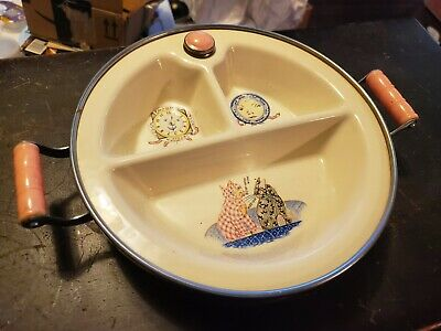 In Box Excello baby child's warming dish Nursery Rhymes, Clock, Dish, Dog, Cat