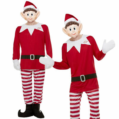 Elf On The Shelf Adults Christmas Elf Fancy Dress Costume Bad Elves Outfit Mens